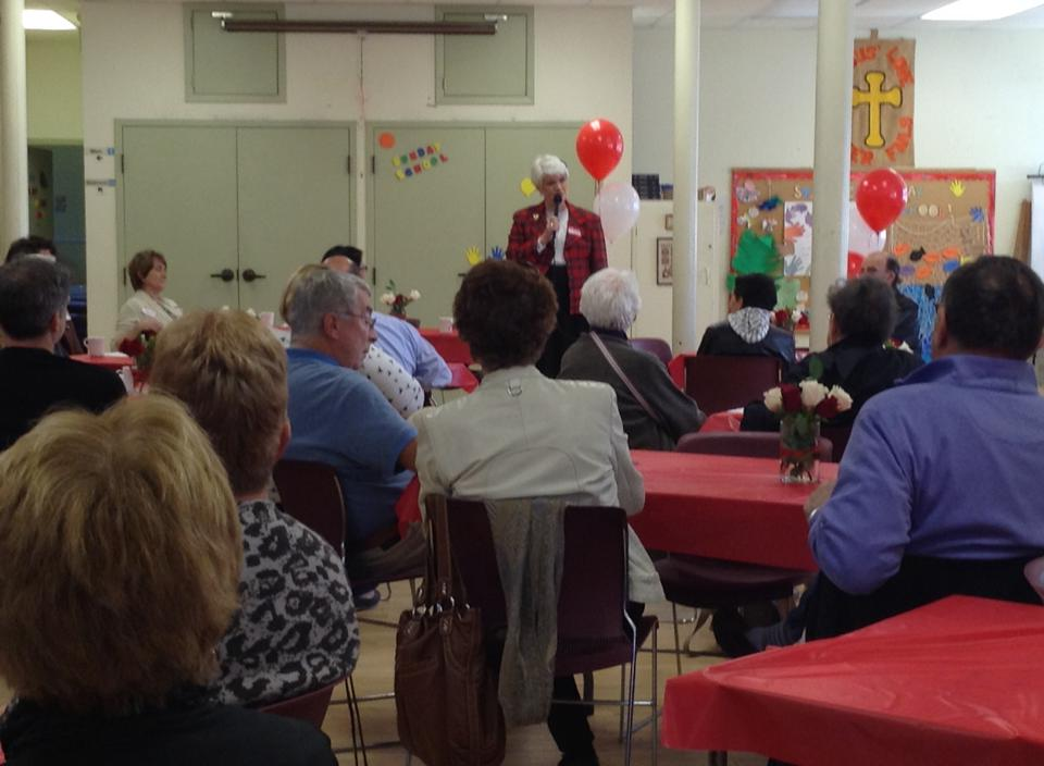 Hon. Liz Sandals speaking to the crowd following her nomination meeting on Sunday April 27th.
